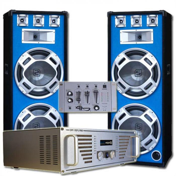 Dj set party kit casse amplificatore mixer led impianto