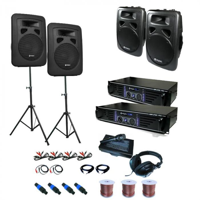 PA System 'Sidney' Set 2 x Amplifiers 4 x Speakers Accessories 3