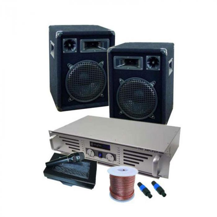 "Set DJ completo ""Boston Rockit"" amplificatore microfono 2 casse"