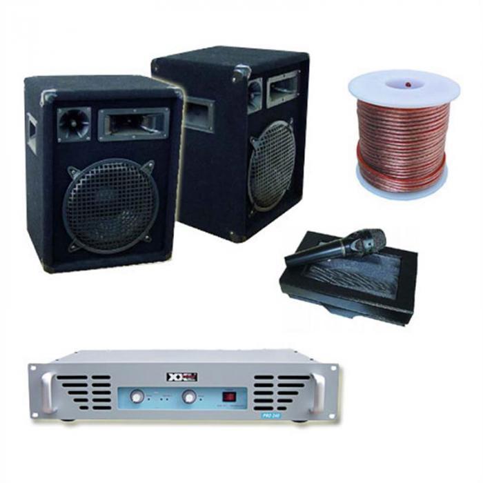 DJ-PA-vahvistin 800 W 1 x vahvistin 1 x mikrofoni