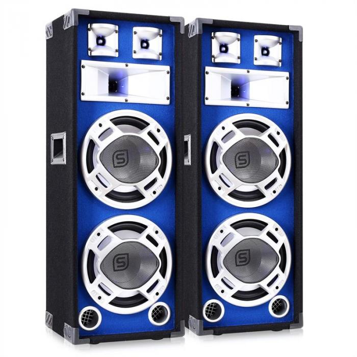 """Pair Skytec DJ PA Blue Dual 10"""" Passive Speakers - 1600W"""
