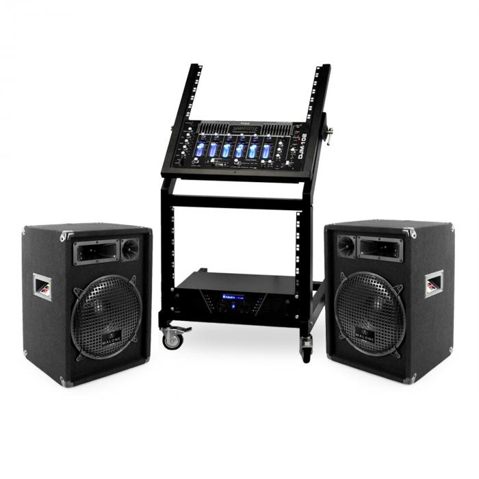 Set DJ Serie Rack Star Mercury Beat Rack ampli mixer 4 canali 2x casse