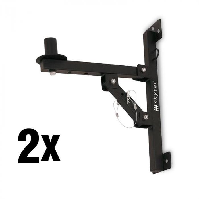 Skytec 2x uchwyty ścienne do głośników czarne udźwig <50kg statyw