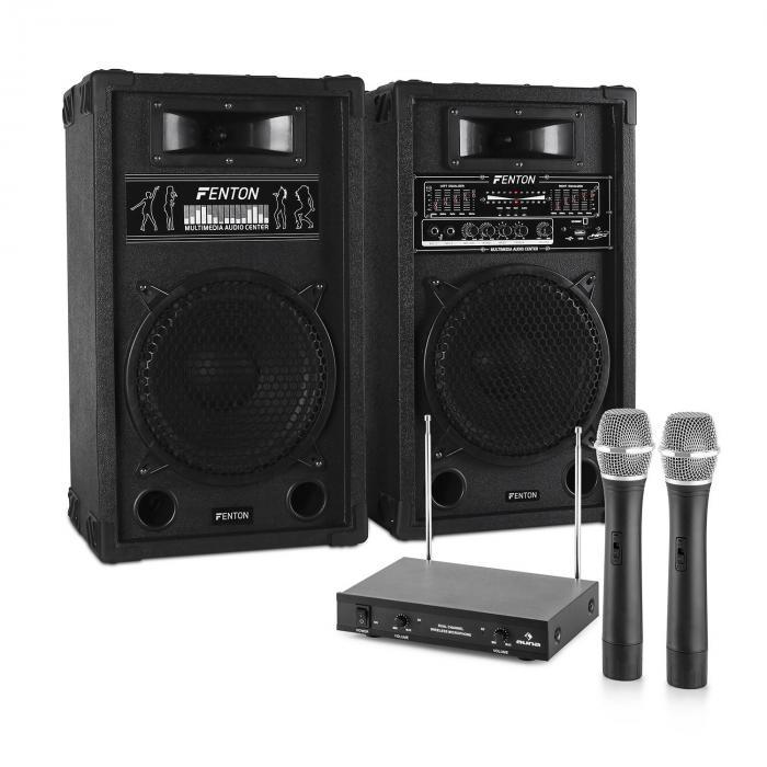 "Impianto Karaoke ""STAR-10"" Set Casse PA attive | Set 2 Canali VHF Radio Microfono"