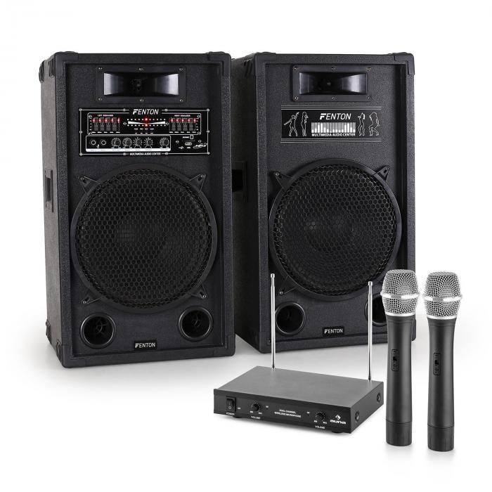 "Karaoke System ""STAR-12"" Active PA Box Set | 2-Channel VHF Wireless Microphone Set"