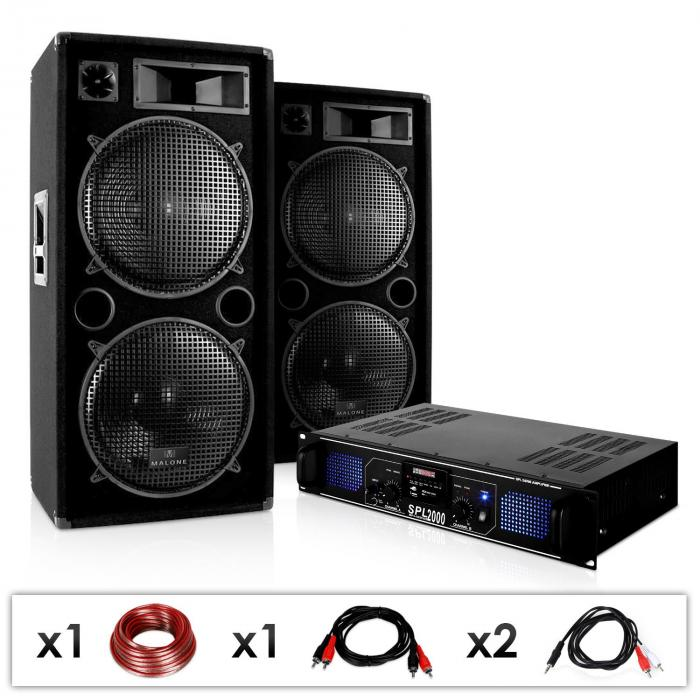 DJ PA System 'DJ-42' Amplifier Speaker Set USB SD 3000W