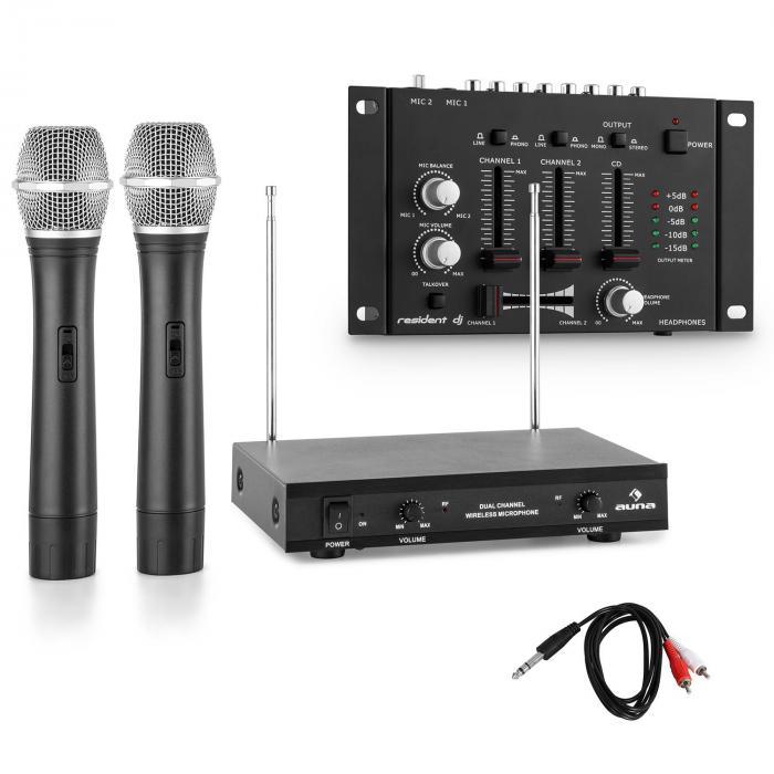 Set de micrófonos inalámbricos con mixer de tres canales negro