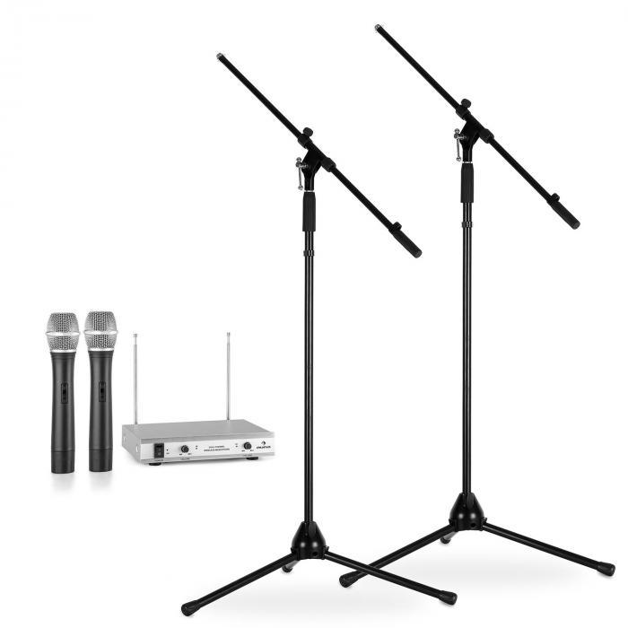 Langaton mikrofonisetti jaloilla 2 VHF-radiomikrofoni 2 mikrofonijalkaa hopea
