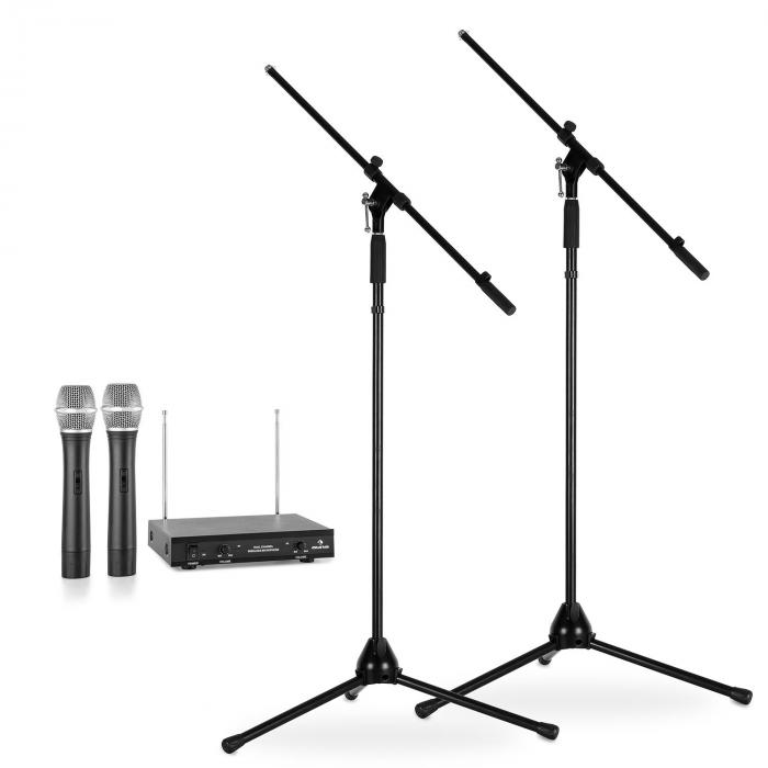 Wireless Microphone Set With Stands | 2 VHF Wireless Microphones 2 Microphone Stands | Black