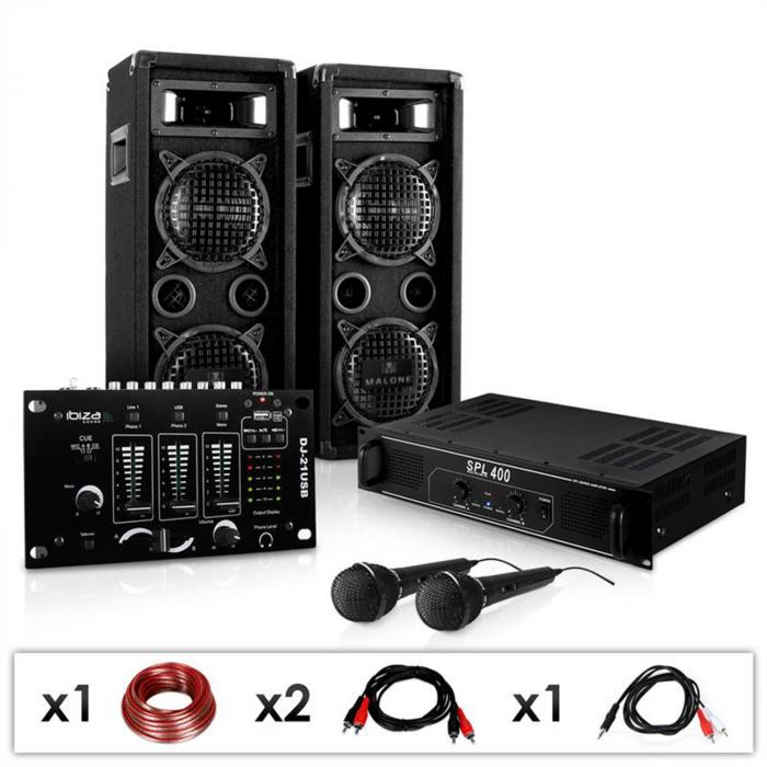 Karaoke Party 'DJ-24M' PA Speakers, Amplifier, Mixer, Mic Set