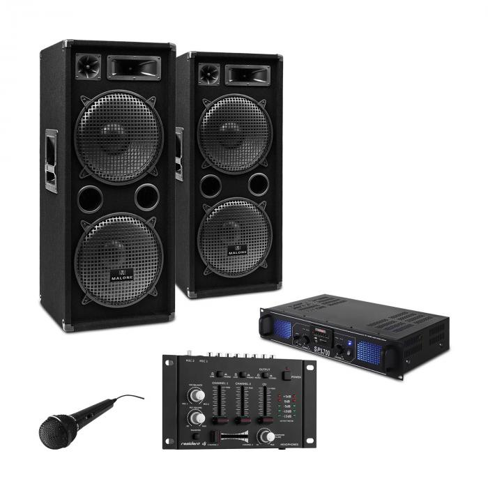"DJ PA SET ""DJ-27"" versterker PA boxen 2000W USB SD MP3"