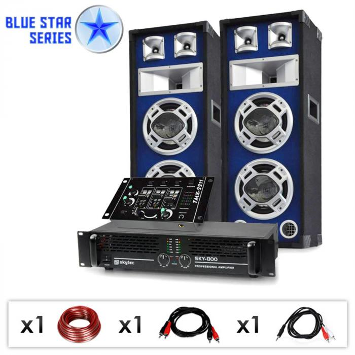 PA System Blue Star Series 'Beatmix' 1200W Speaker & Amp Pac