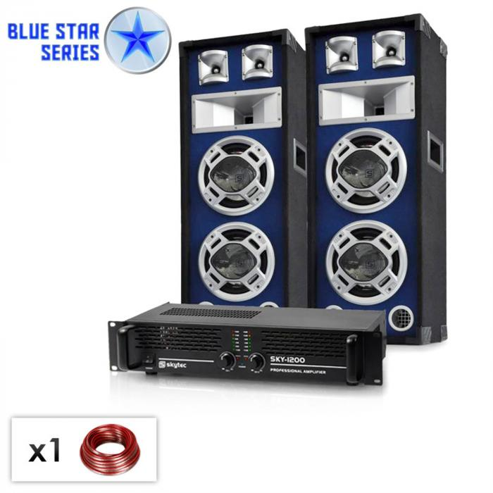 "Blue Star Series ""Bass boom"" 1600W PA System - LED Speakers & Amp"
