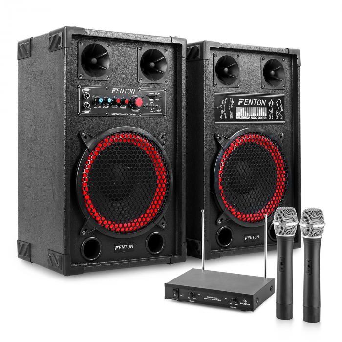 "Sistema de karaoke ""STAR-Neukölln"" Altavoces PA 600W | Set de micrófonos inalámbricos VHF de 2 canales"