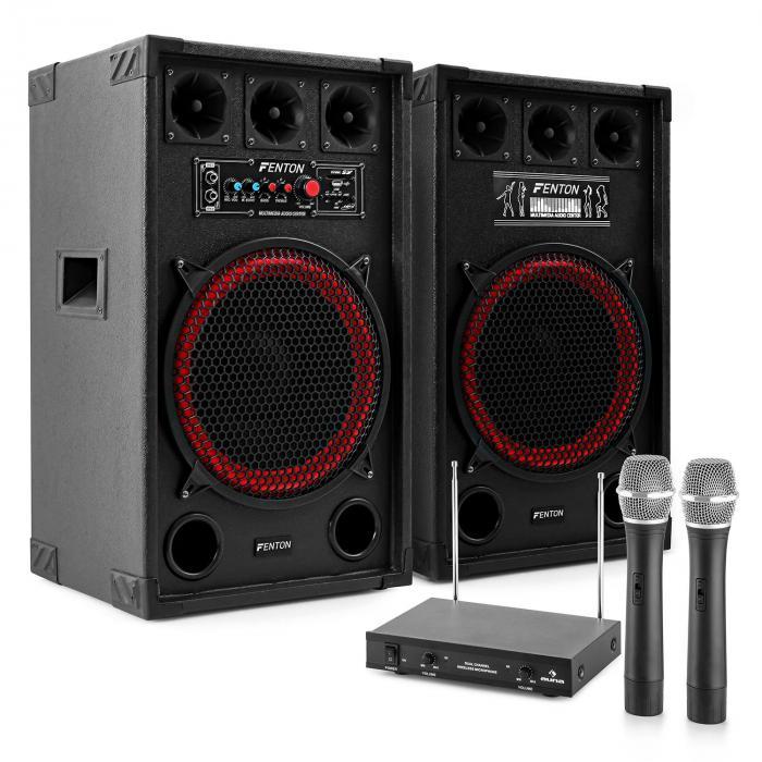 "Sistema de karaoke ""STAR-Kreuzberg"" Altavoces PA 800W | Set de micrófonos inalámbricos VHF de 2 canales"
