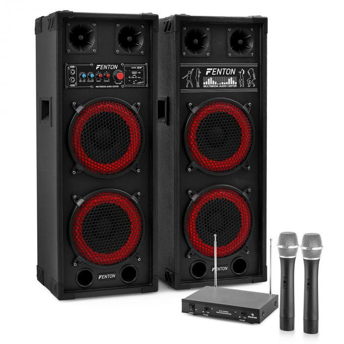 "Sistema de karaoke ""STAR-Köpenick"" Altavoces PA 800W | Set de micrófonos inalámbricos VHF de 2 canales"