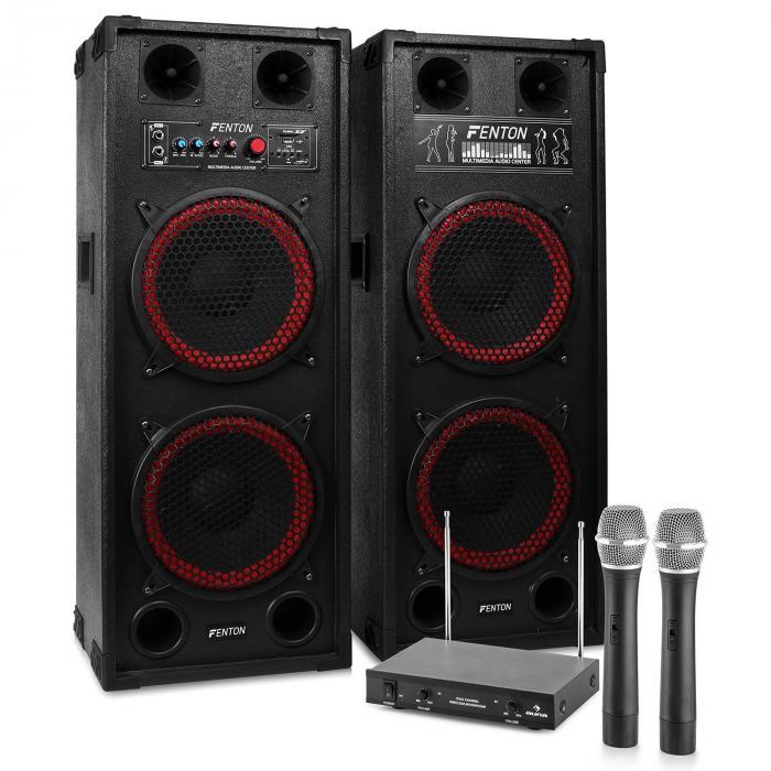 "Impianto Karaoke ""STAR-Schöneberg"" Casse PA 1200W | Set Radiomicrofoni VHF 2 canali"