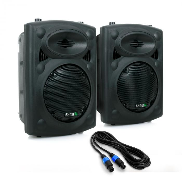 "SLK Pair PA Speakers 2x 20cm (8"") Master Slave 600W USB SD MP3"