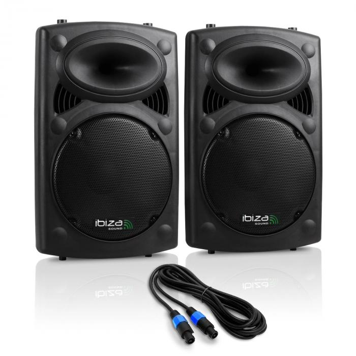 "SLK Pair PA Speakers 2x 38cm (15"") Master Slave 1500W USB SD MP3"