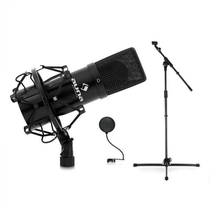 DJ PA Bühnen- & Studio Mikrofonset mit Mikrofon, Stativ und Mikrofonabschirmung