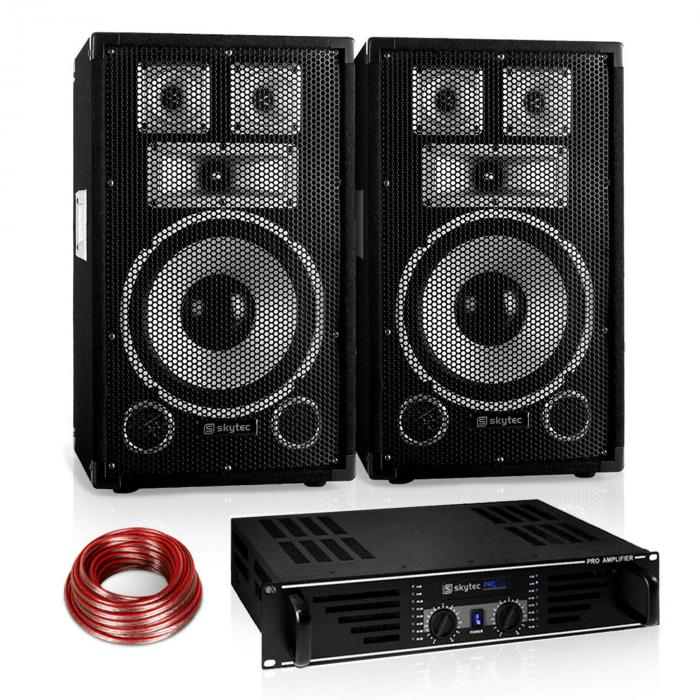 "Disco ""Warm Up Party"" PA Set 600W DJ Amplifier 10"" Speaker Pair"