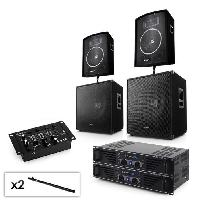 "2.2 Set PA system with 2 x Amplifiers,2 x 15"" Subwoofers, 2 x 10"" Speakers, Mixer & Cables"