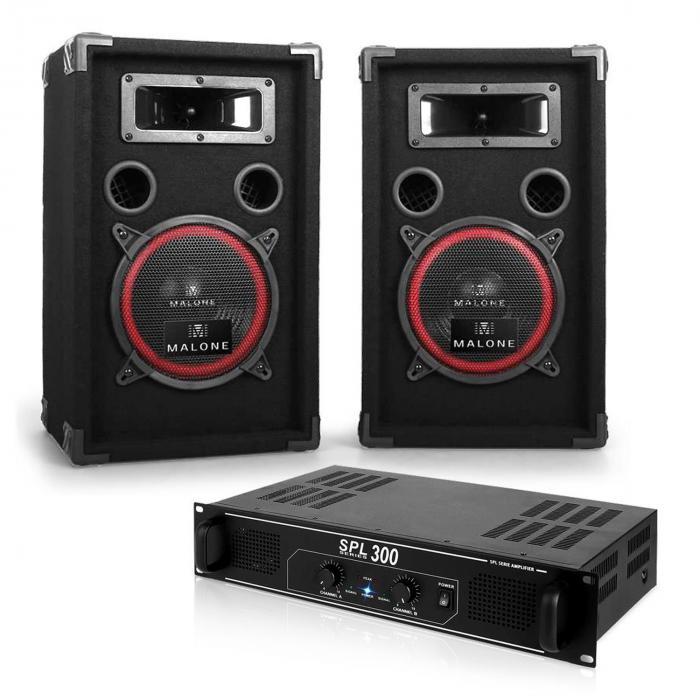 """Set DJ """"Soundbash"""" coppia casse passive + amplificatore 300W"""