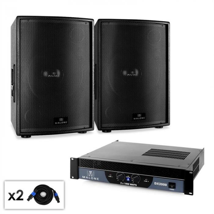 dj pa set malone 2 0 sub disco mit paar 38cm subwoofer. Black Bedroom Furniture Sets. Home Design Ideas