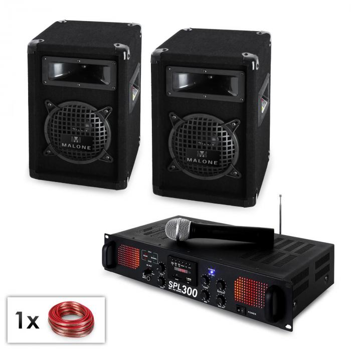 "PA Set ""Malone SPLVHF"" Par Altavoz 6,5"", micrófono VHF y amplificador 300W"
