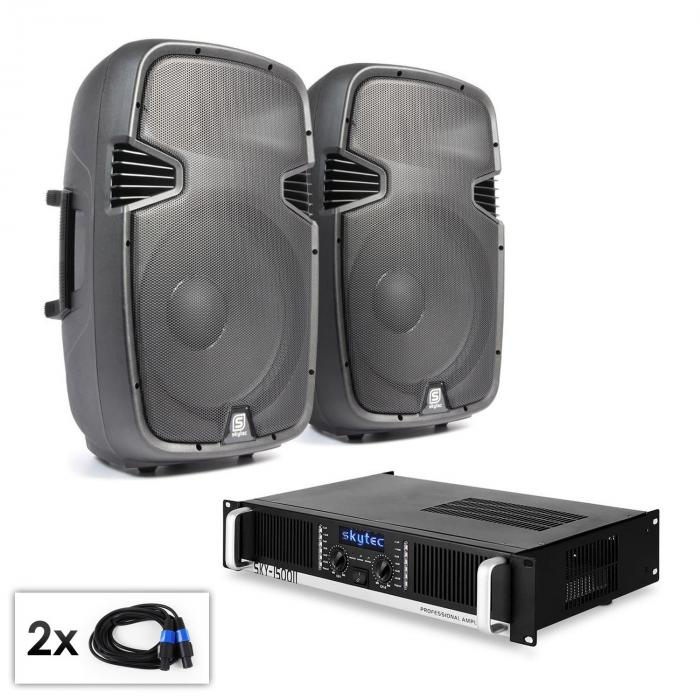 "PA Set ""SPJ boom 15 MKII"" pair of 30cm Speakers & Amplifier 1500W"
