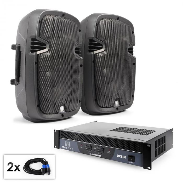 "PA Set ""SPJ Boom"" Pair of 10"" (25 cm) Speakers and Amplifier 800 W"