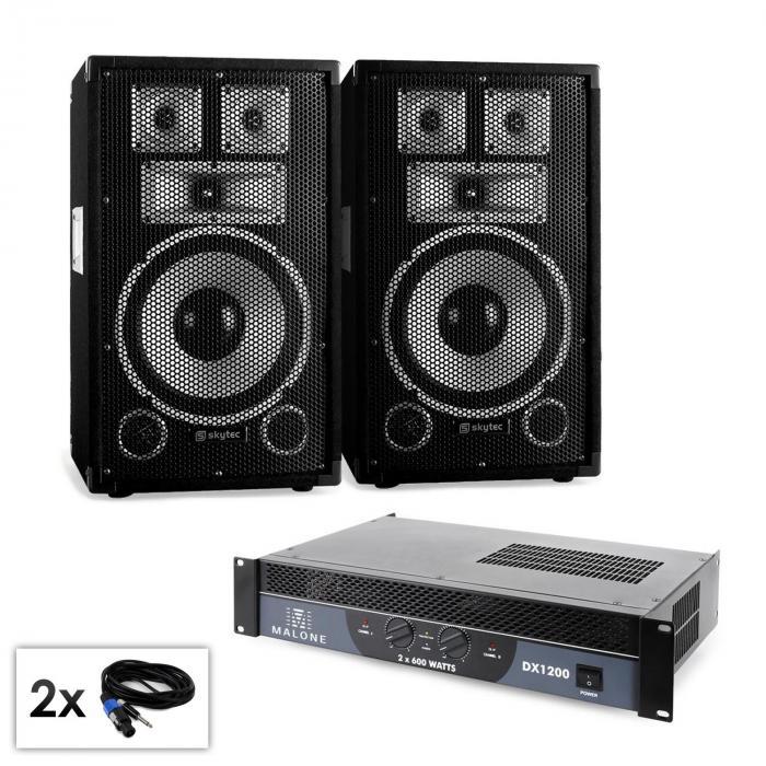 """Set PA """"Warm Up Party TX10"""" Casse 25cm amplificatore 1200w"""