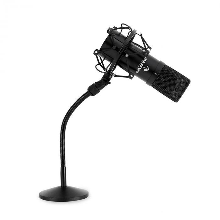 Studio Mikrofonset mit USB Mikrofon in schwarz & Mikrofontischstativ