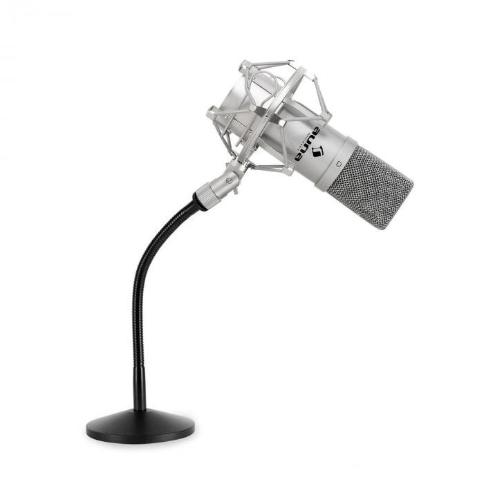 Studio Mikrofonset mit USB Mikrofon in silber & Mikrofontischstativ