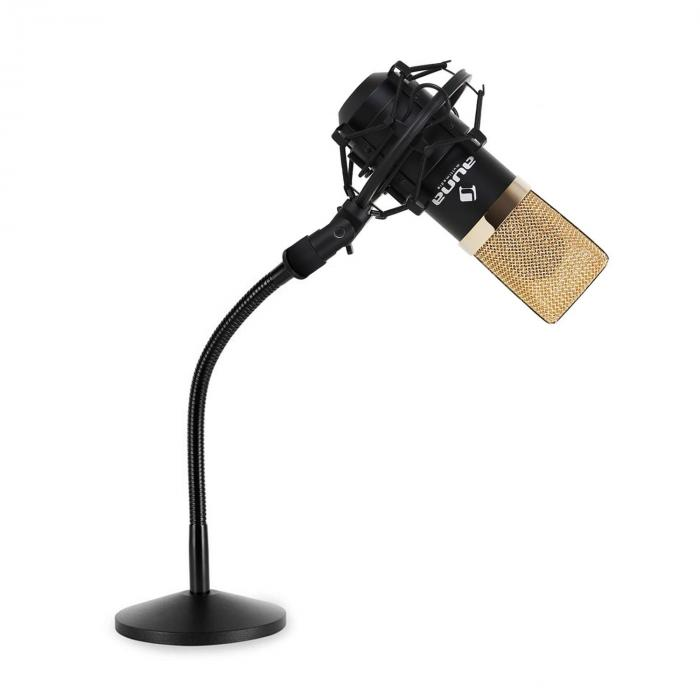 studio microphone set with usb microphone in gold black table microphone stand. Black Bedroom Furniture Sets. Home Design Ideas