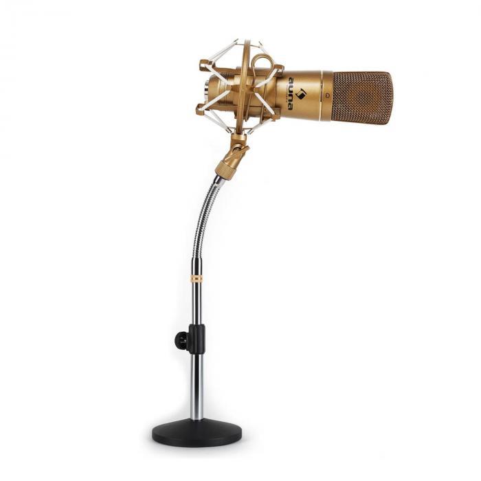 Auna Studyjny zestaw mikrofonowy - mikrofon USB brązowy & stołowy statyw mikrofonowy