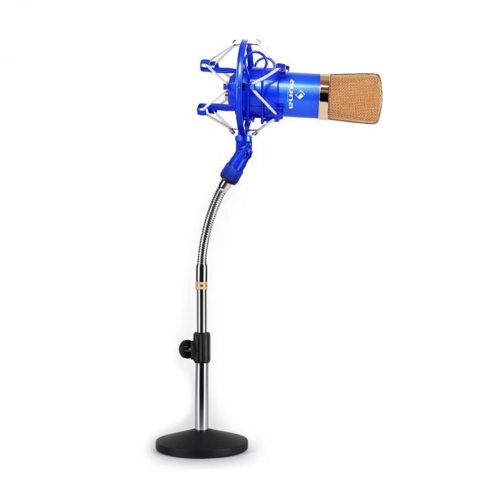 Studiomikrofonisetti XLR-kondensaattorimikrofoni sininen/kulta & mikrofoniteline