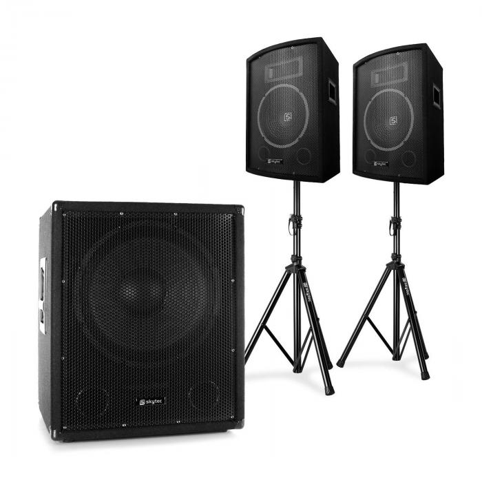 skytec 2 1 aktiv pa dj set mit bi amp suboofer paar 10. Black Bedroom Furniture Sets. Home Design Ideas