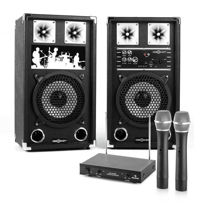 PA Karaoke Set 2 x PA-Lautsprecher 2 x Funkmikrofon