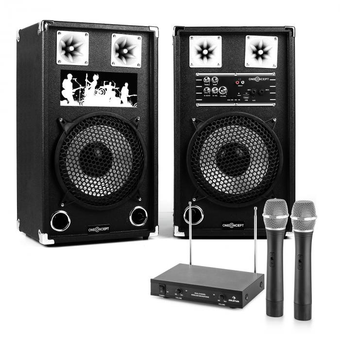"Sistema de karaoke ""STAR-10A"" Set de altavoces PA activo | Set de micrófonos inalámbricos VHF de 2 canales"