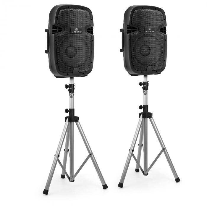 "2.0 Malone PA Active Speaker Set Pair of 10"" Monitor Speakers with Stands"