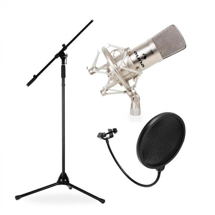 Lava- ja studiomikrofonisetti CM001S mikrofoni, teline ja suoja
