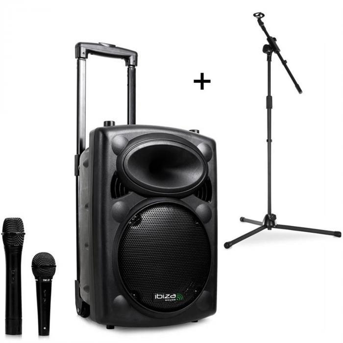 Ibiza Port8VHF-BT, przenośna kolumna nagłośnieniowa, Bluetooth, USB, SD, 200 W RMS, ze stojakiem mikrofonowym