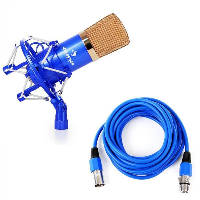 CM001BG Studio Microphone Blue / Gold XLR Condenser with 6m Cable