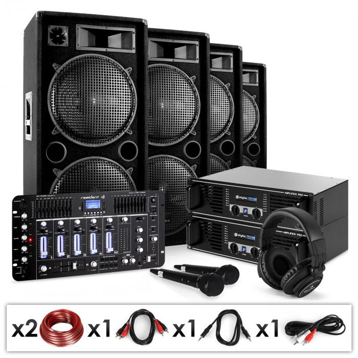 "DJ PA set ""Bass First Pro Bluetooth"" 2x Amp 4x boxar mixer 4000W"