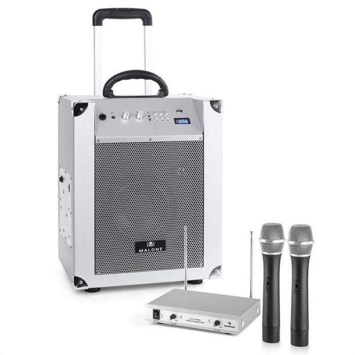 Blockstar Sistema Audio Portatile & Set Radiomicrofoni Argento