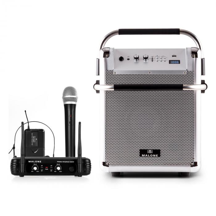 Rock Fortress PA System + UHF 250 Wireless Microphone Set PA-Box Microphone Headset