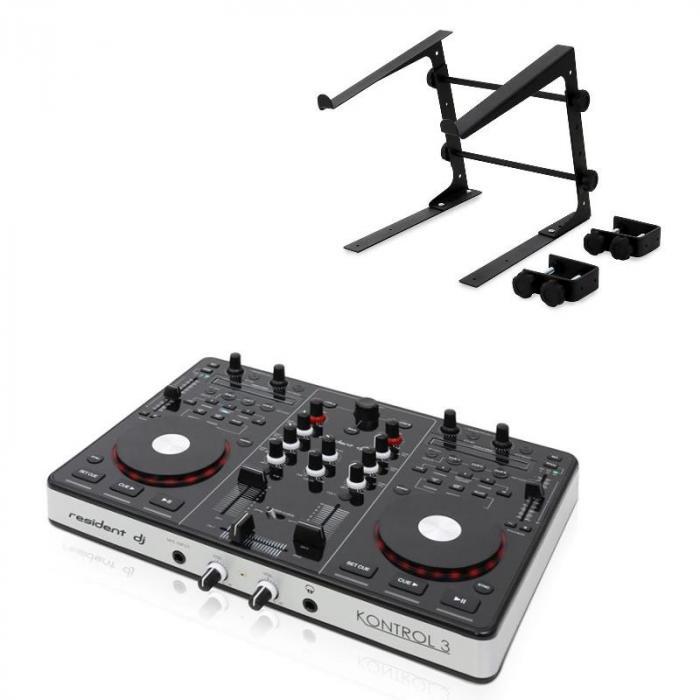 Kontrol 3 USB MIDI DJ Controller Black with Laptop Stand