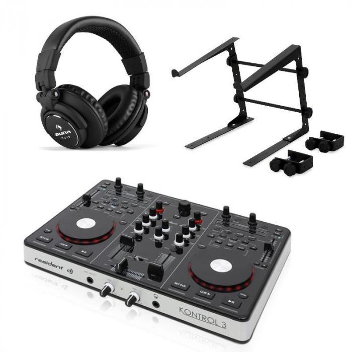 Kontroll 3 USB-MIDI DJ-Controller svart med Hörlurar & Laptopstativ