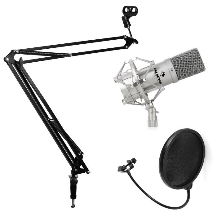 studio microphone set with microphone microphone boom arm pop shield silver. Black Bedroom Furniture Sets. Home Design Ideas